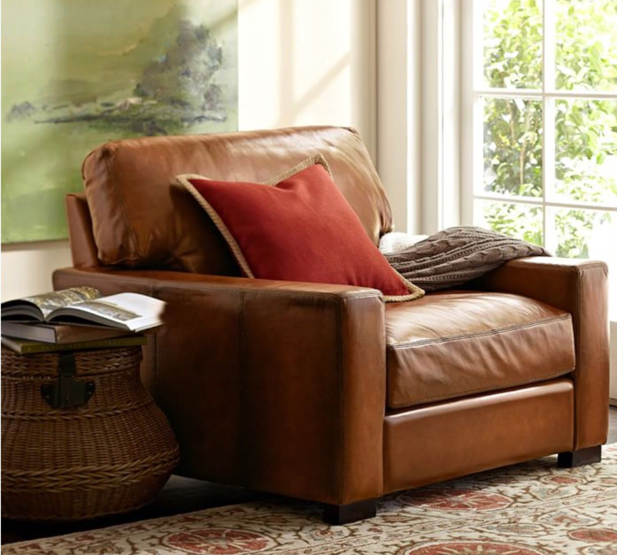 Pottery Barn Leather armchair, Living room chairs, Armchair