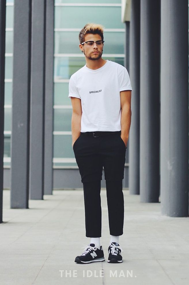 Men 39 S Street Style A White Tee With Slim Fit Black Jeans And Trainers The Idle Man Men