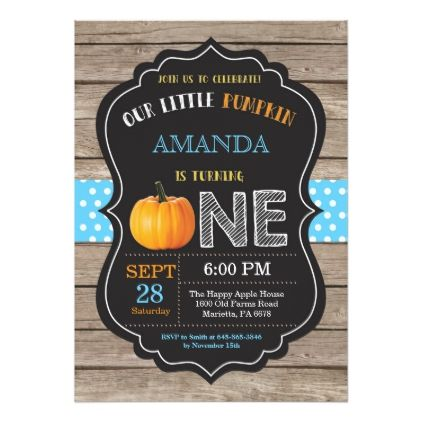 Rustic pumpkin first birthday invitation blue filmwisefo Image collections