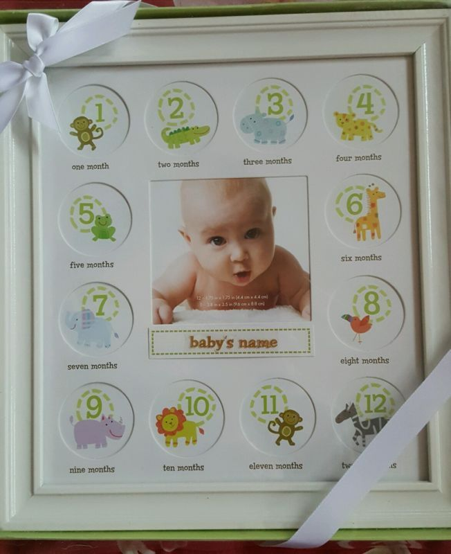 Stepping Stone Babys First Year Picture Frame (White Frame with Room ...