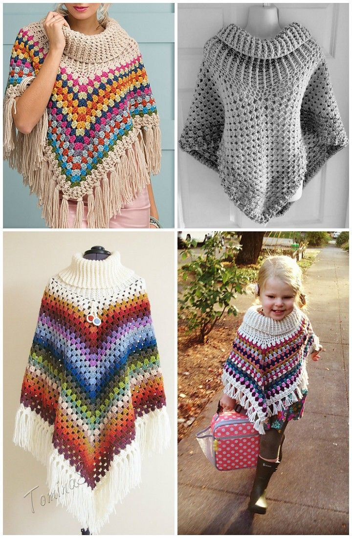 50 Free Crochet Poncho Patterns for All | Handarbeiten, Häkeln und Wolle