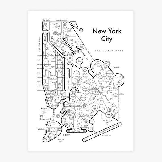 New York City Map 8 5x11 Fancy Beautiful Cool Neighborhood