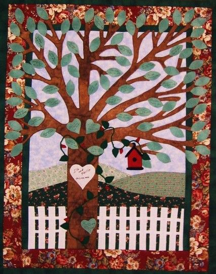 family tree wall hanging pattern tree quilt with signatures on the leaves wedding quilts