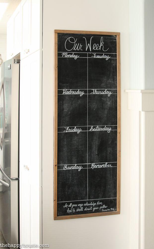 Diy Giant Chalkboard Kitchen Weekly Planner Chalkboard Weekly Planner Weekly Wall Calendar