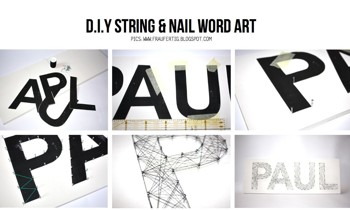 Diy string and nail art do it yourself pinterest word art diy string and nail art solutioingenieria Images