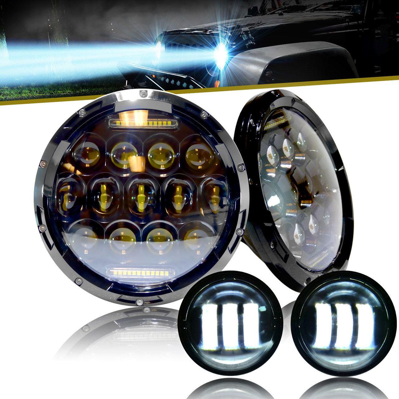 Xpe Honeycomb Array Black Led Headlights Fog For Jeep Wrangler Lights Jk 2007 2017