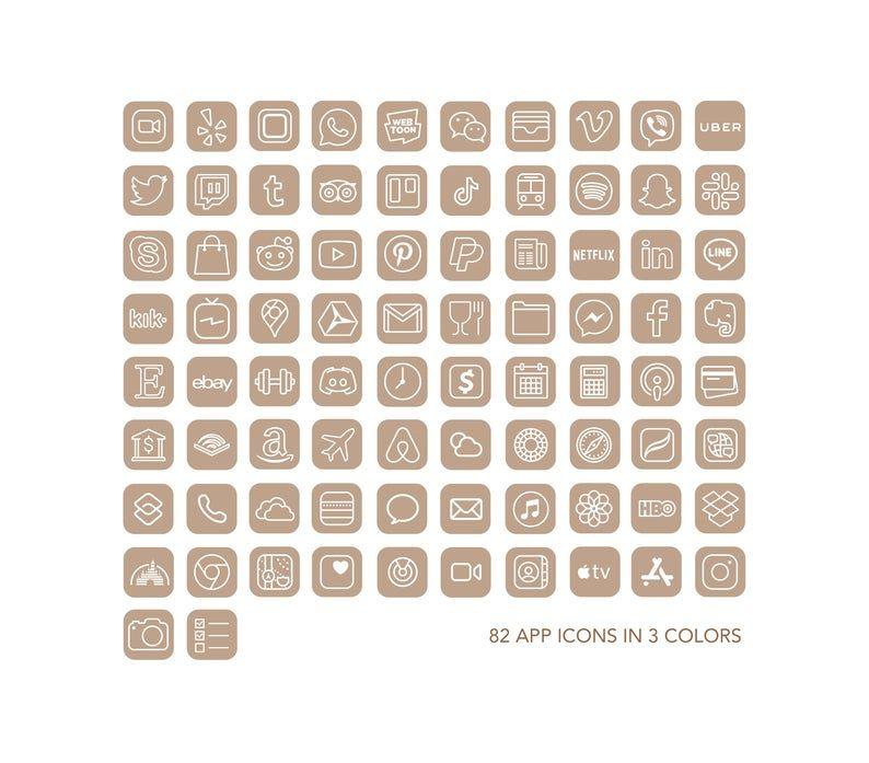 Icon IOS 14 app Iphone 246 Neutral Nude Icons | IO