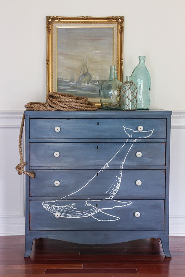 coastal nautical hometalk vintage dresser furniture beachideas makeover anchor painted