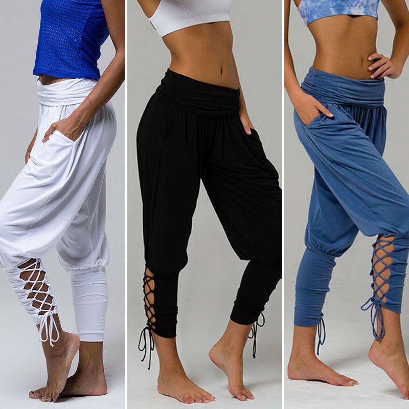 Mujer Casual Holgados Haren Pantalones Yoga Baile Hippy Cordones Palazzo 9 52 Pantalones Mujer Pantalones Gitanos Palazzo Mujer