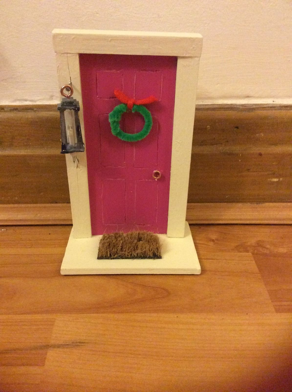 Miniature wooden fairy door with working fairy lantern for Mini fairy door