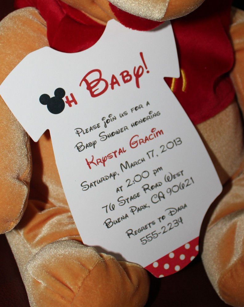 Mickey Mouse Onesie Baby Shower Invitation - All Wording Customized ...