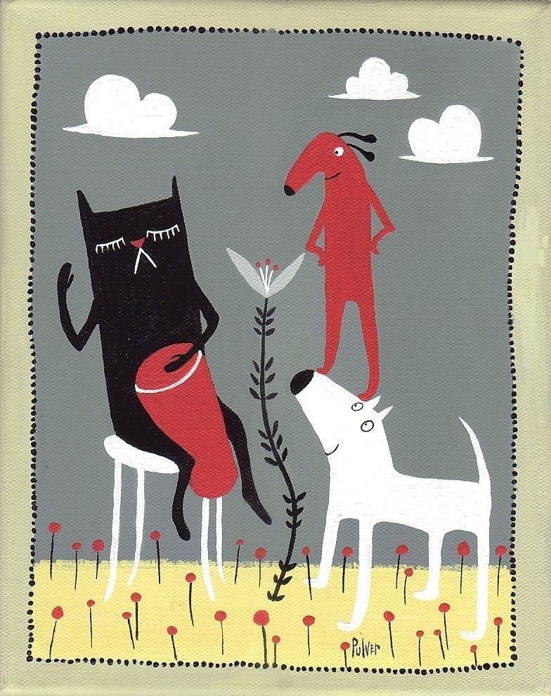 Quirky Black Cat Art Print Beatnik Bongo Drummer 8x10 poster folk art white dog, red dog, grey, yellow by 3crows on Etsy https://www.etsy.com/listing/55562872/quirky-black-cat-art-print-beatnik-bongo
