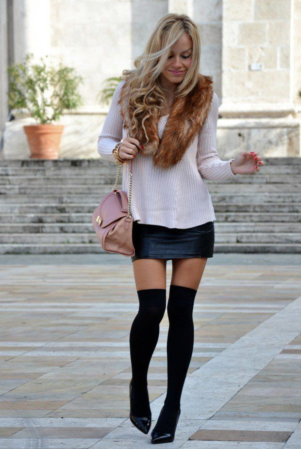 95cc3a735 40 Stylish Fall Outfit Ideas With Over The Knee Socks
