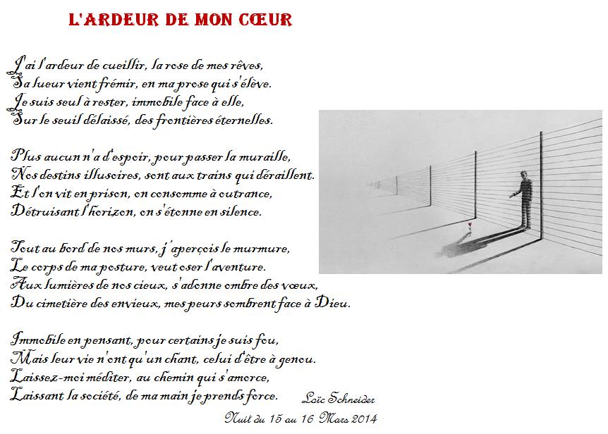 119 L\'ardeur de mon cœur #poeme #poesie    Artiste peintre : #Pejac ...