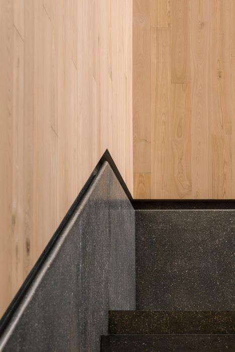 Stairs Recessed Handrail Concrete And Wood