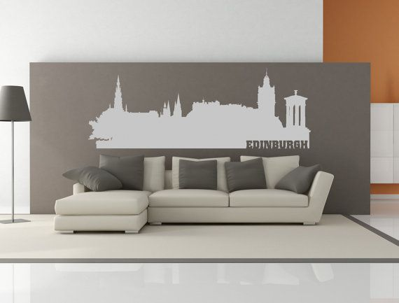 Edinburgh scotland united kingdom city skyline interior wall decal sticker with lettering