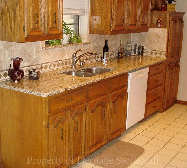 New venetian gold granite with interesting backsplash for New kitchen cabinets and countertops