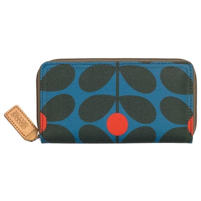 Womens Big Zip Wallet Purse Blue (Charcoal Blue) Orla Kiely tsj2A3d