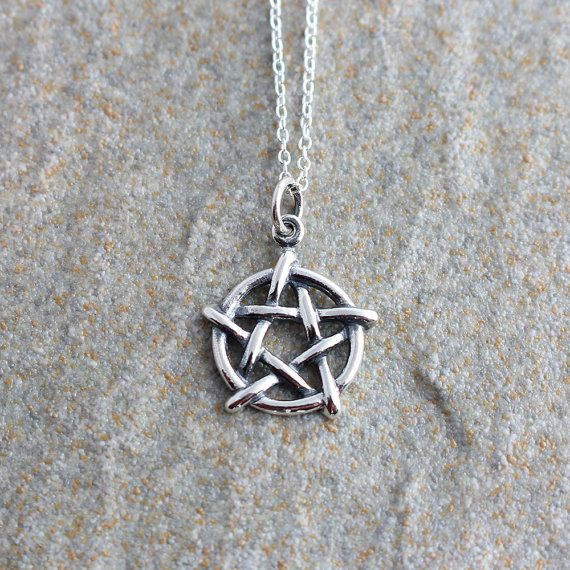 Sterling silver pentagram necklace silver pentagram pendant silver sterling silver pentagram necklace silver by xspiritjewelx on etsy aloadofball Choice Image