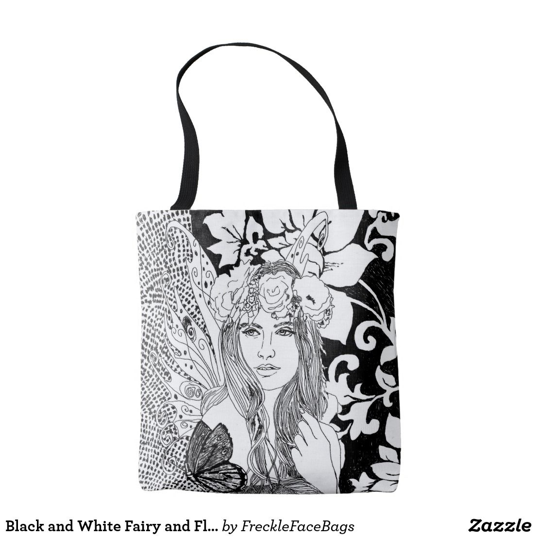 Black And White Fairy And Flower Tote Bag Zazzle Com Bags