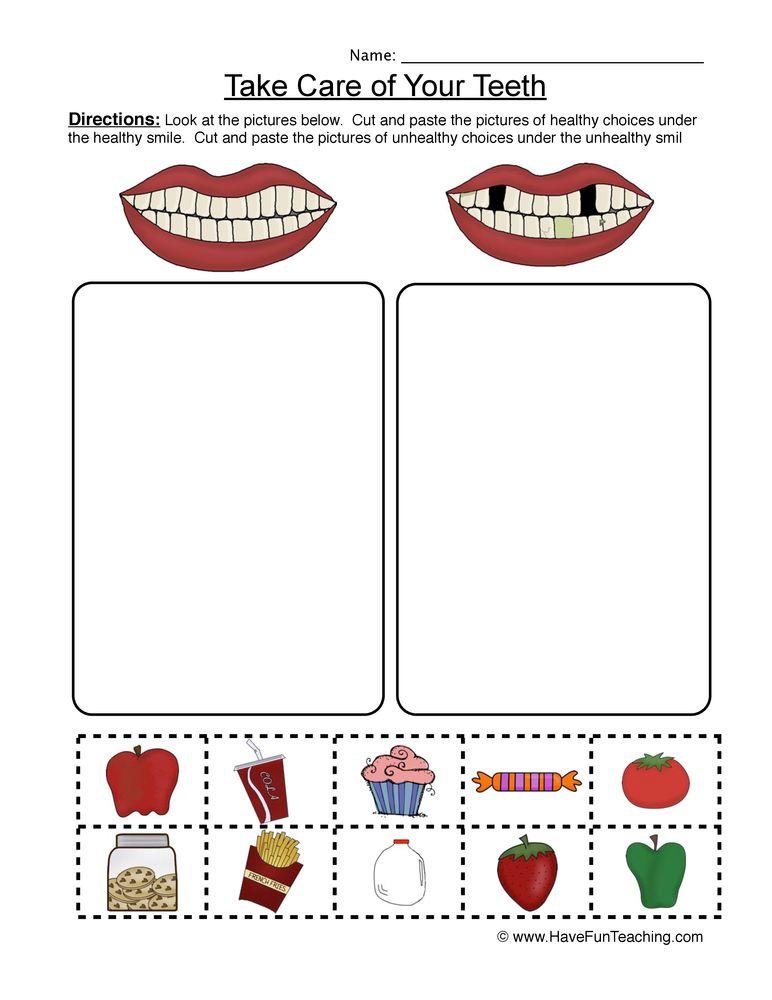 Clean Teeth Worksheet Sorting Dental health activities