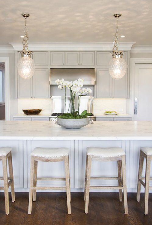 Light Gray Cabinetry Pendants Marsh And Clark Classy Kitchen