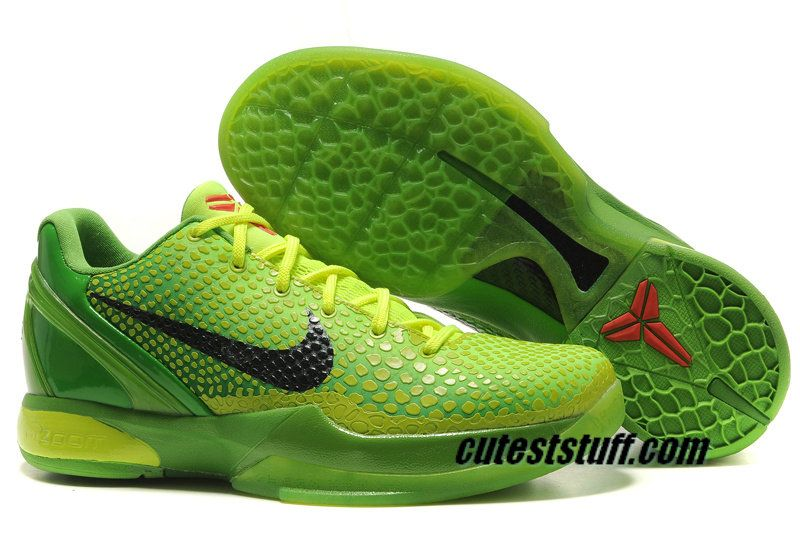 Nike Zoom Kobe 6 Shoes Grinch Christmas Green Mamba 429659 701