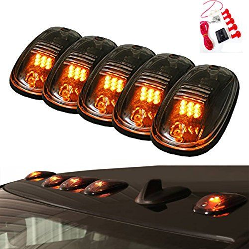 5pcs Amber 9 Led Smoke Cab Roof Top Running Marker Lights