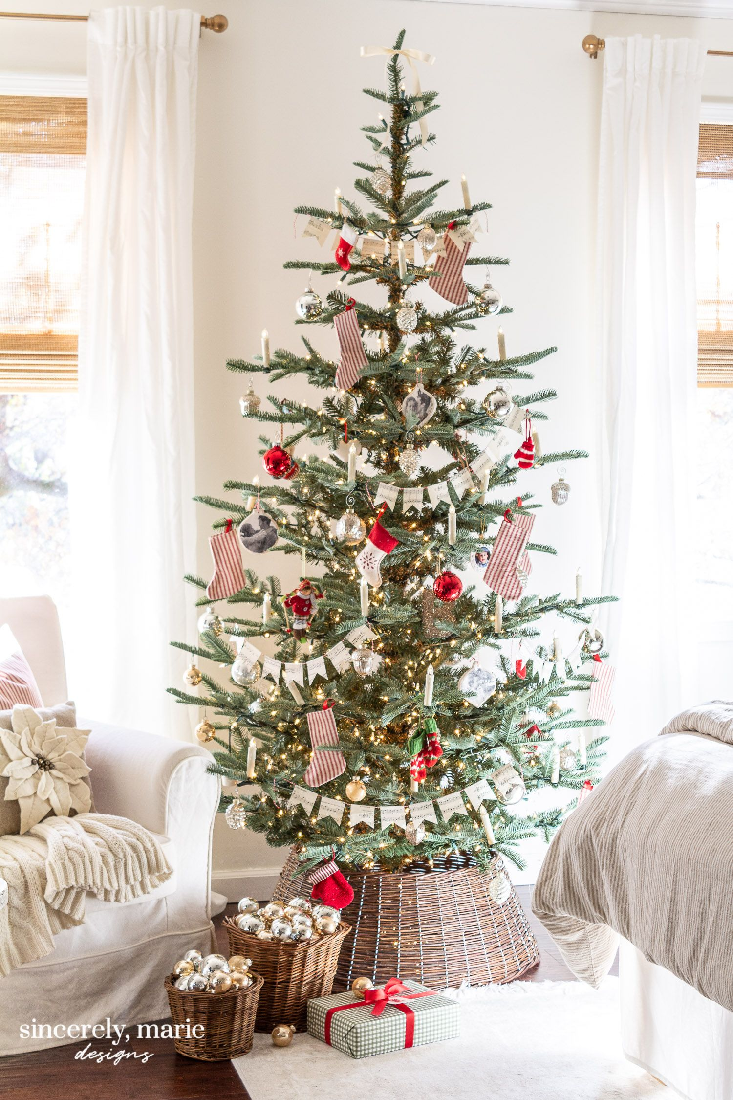 Our Bedroom's Old Fashioned Christmas Tree - Sincerely, Marie Designs