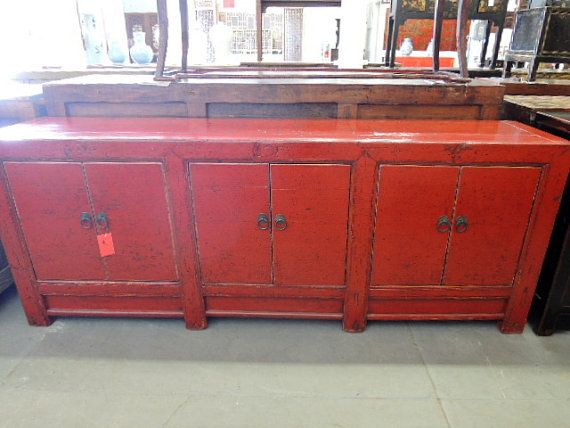 Antique Chinese Long Storage Cabinet Or Console In Distressed Red By Modernredla 2125 00