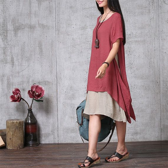 Two Layerd Loose Fitting Long Maxi Dress Summer by deboy2000