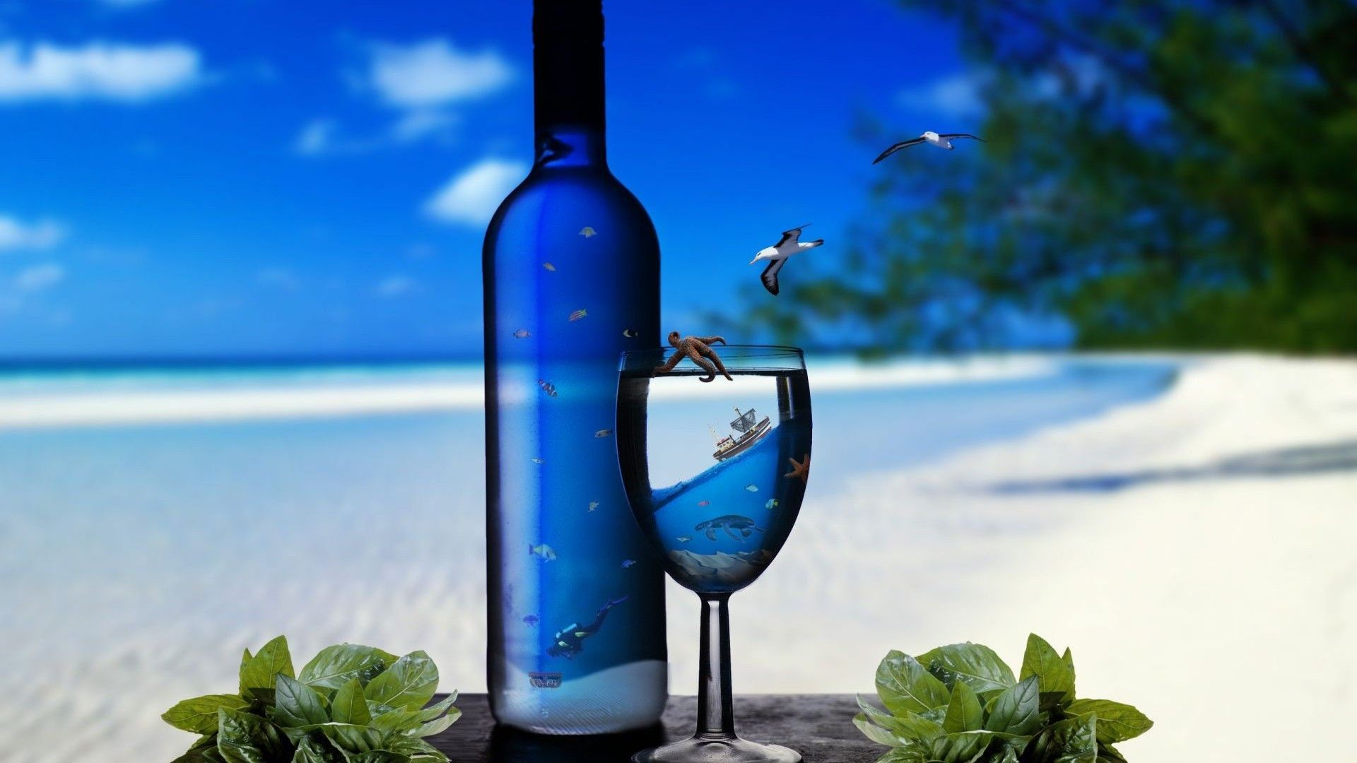 Bottle Beach and Wine Bottle Wallpaper HD Free Download | Download ... Background Images Blue Hd