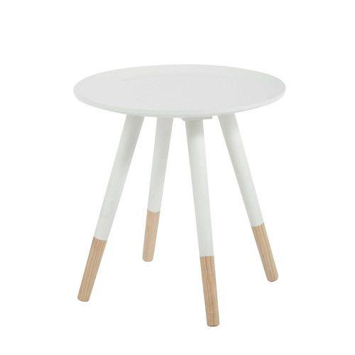 Table basse vintage ronde en bois blanche D 40 cm Nouvelle deco