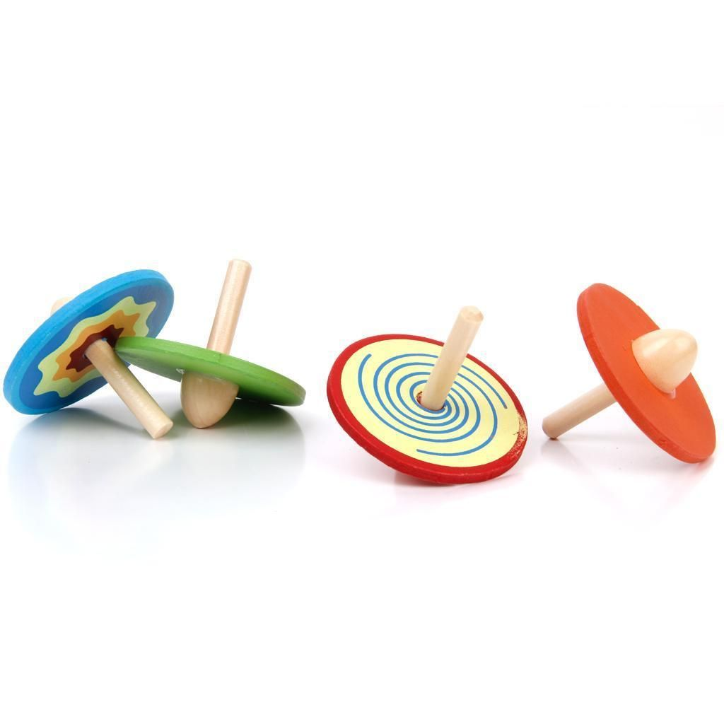 4pcs Classic Colored Wooden Spinning Tops Peg-Top Gyro Pre-School Kids Toys