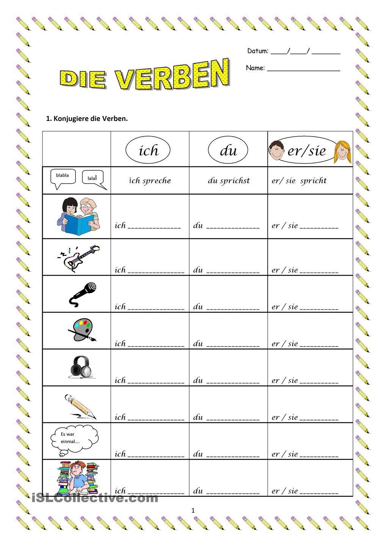 Die Verben   Worksheets, Homeschool and School