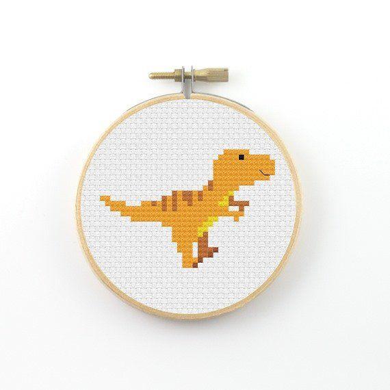 T-rex cross stitch pattern, dinosaur pdf pattern, dino cross stitch, modern cross stitch, t rex, tyrannosaurus rex, tyrannosaur #dinosaur