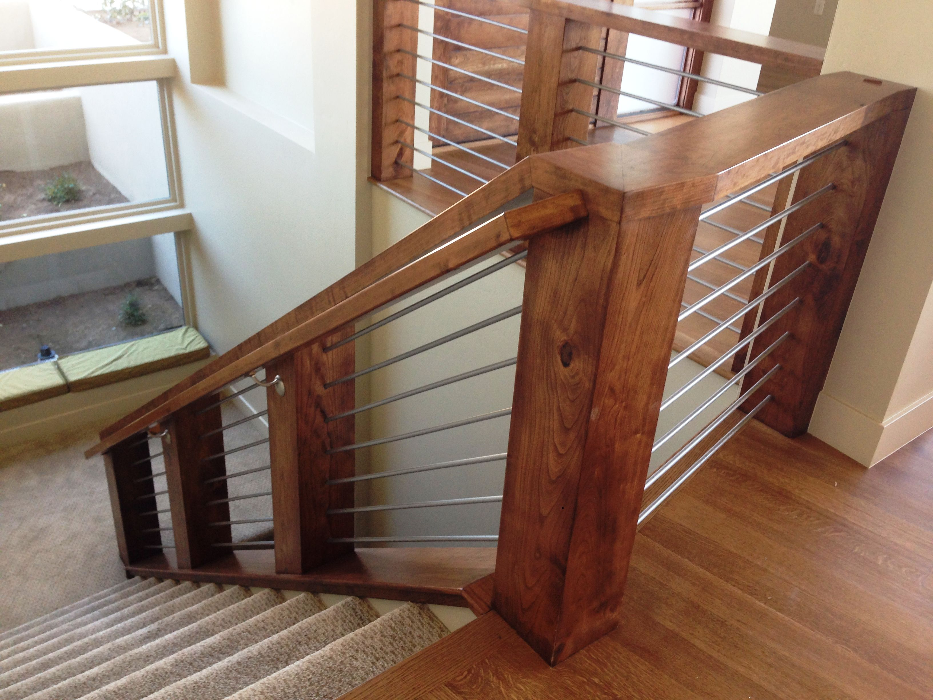 Best Cherry Wood Contemporary Staircase With Round Metal 640 x 480
