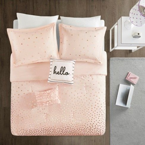 Twin Twin Xl 4pc Nova Metallic Comforter Set Blush Rosegold Adult