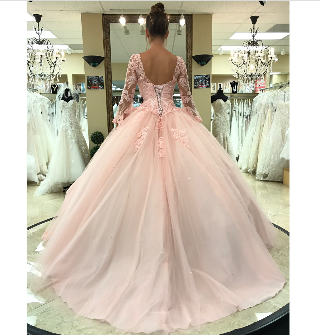 Pink Tulle Lace Corset V Neck Quinceanera Dresses Sweet 16