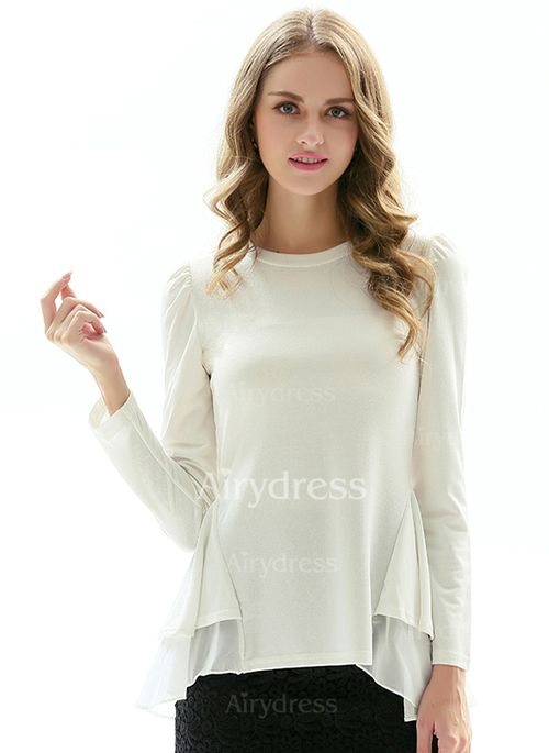 T-shirts - $24.71 - Polyester Solid Round Neck Long Sleeve Casual T-shirts & Vests (1685123206)