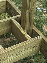 Deck Railing Post Being Installed With Blocking Deck