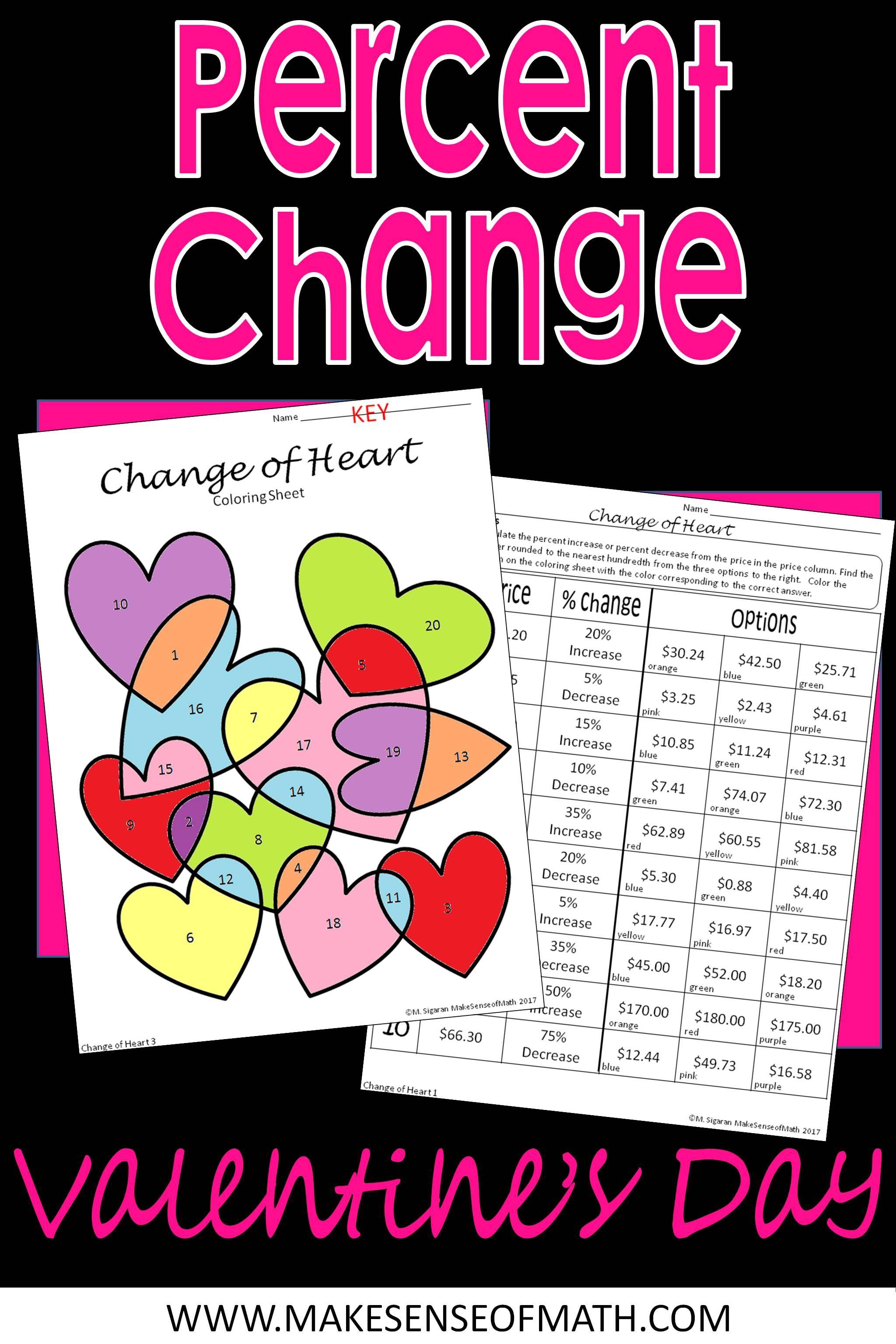 Percent Change Increase Amp Decrease Valentine S Coloring