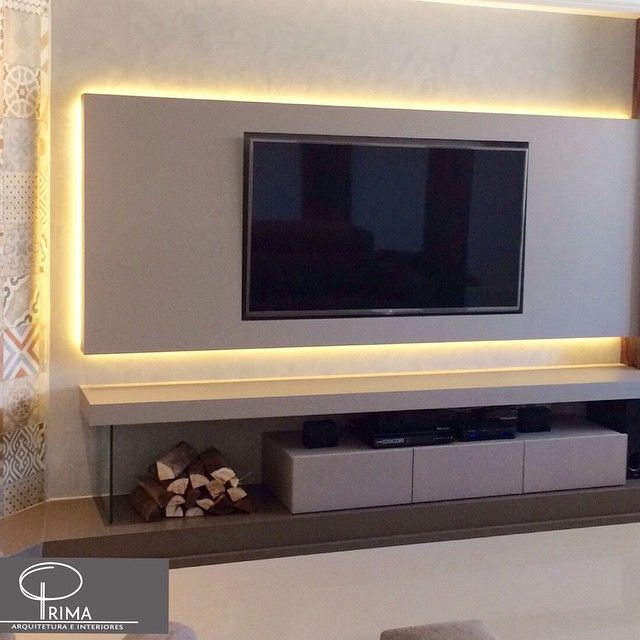 Altura Da Tv Na Sala De Estar ~ Home Theater  Painel de TV em mdf na cor Gianduia da Duratex