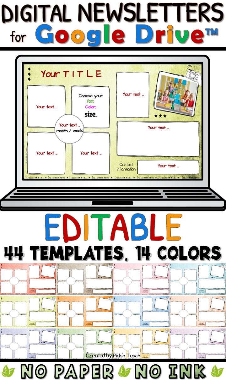 44 Editable Classroom Newsletter Templates Go Digital Google Drive Professeur Pedagogie