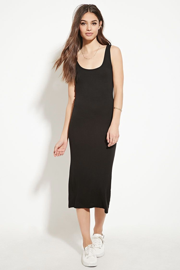 A sleeveless knit midi dress with a bodycon silhouette, a scoop ...