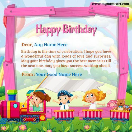 Kids Birthday Wishes: Train With Kids In Cartoon Character Design Birthday