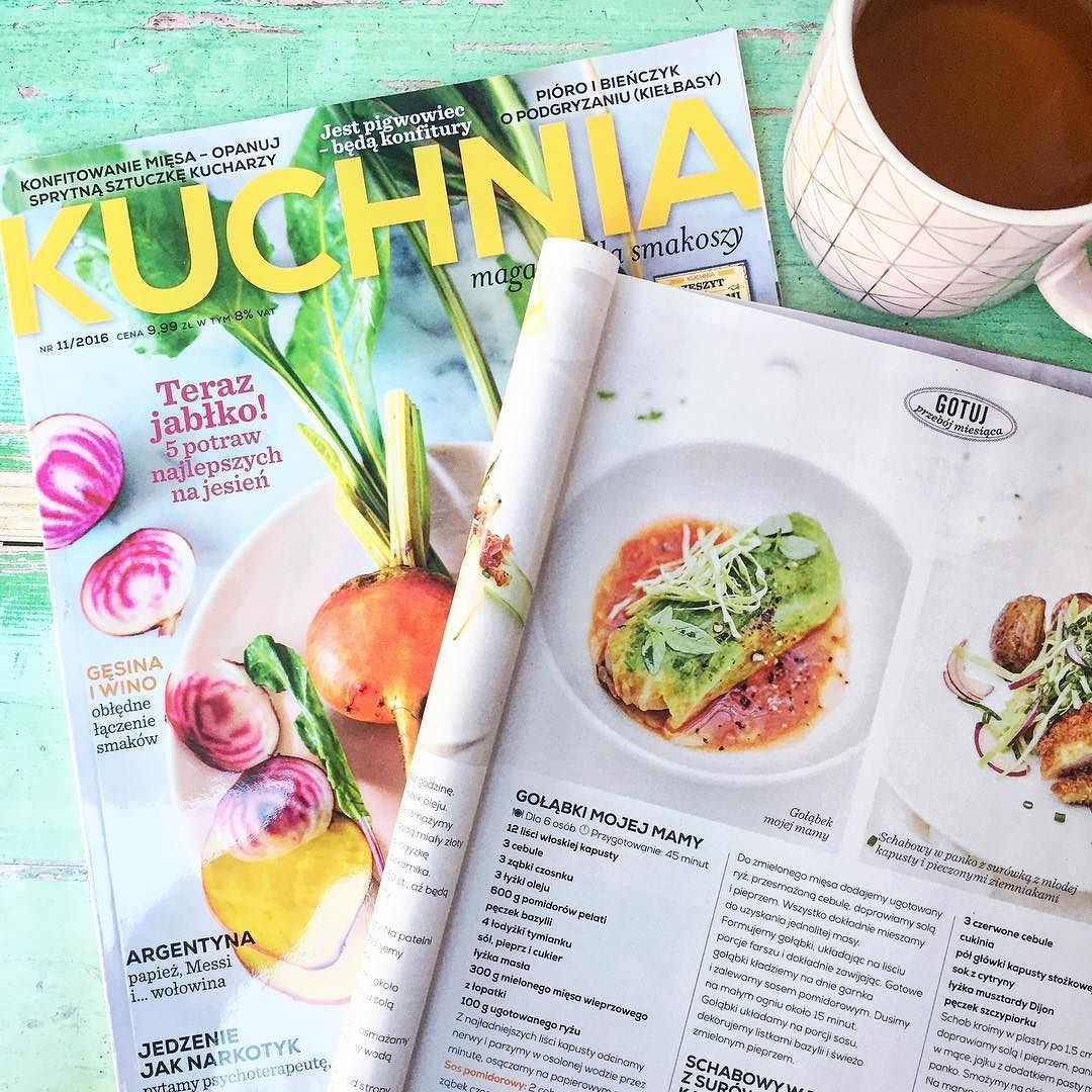 Catching up with issues of my favourite #polish food magazine #Kuchnia @magazyn_kuchnia Loving the look of these light bright stuffed cabbage rolls #golabki with a little bit of fresh cabbage and basil on top. Also extra happy  today because my cookbook #WildHoneyAndRye got its first mention yesterday in the London @evening.standard - there's lots more of this good Polish food to come thanks to @pavilionbooks for turning my dreams into something very special  #September2017