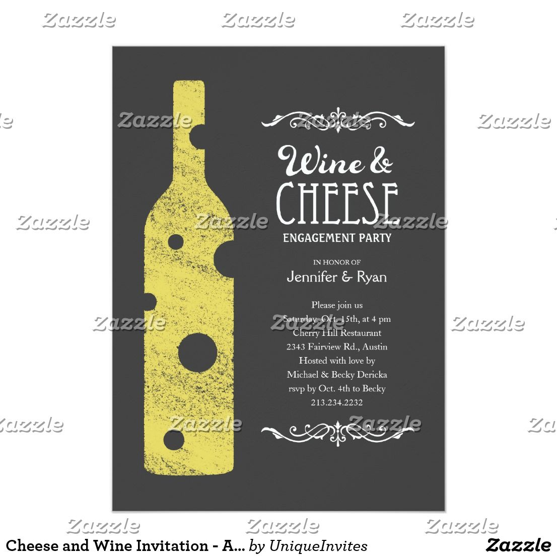Cheese and Wine Invitation - Alternate wording | Favors and Weddings