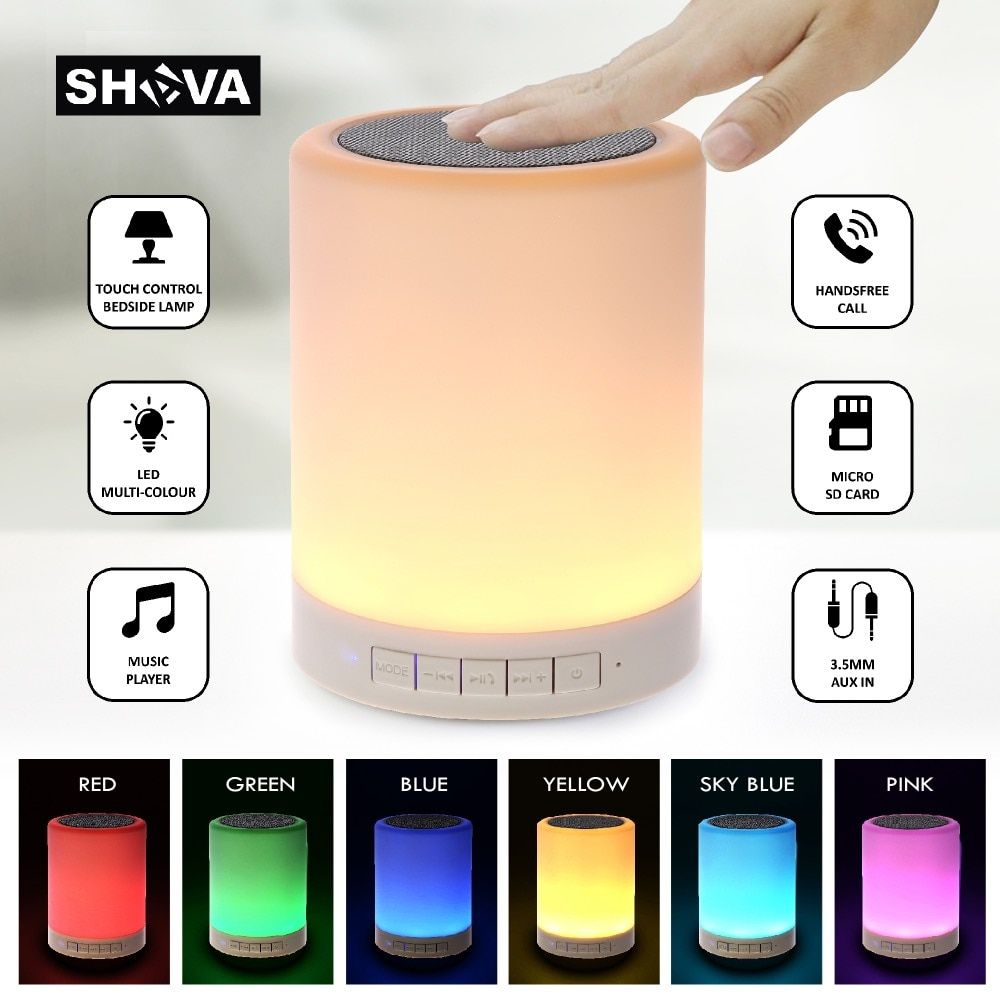 Night Light With Bluetooth Speaker Shava Portable Wireless Bluetooth Speaker Touch Control Color Led Bedside Table Lamp With Images Wireless Speakers Bluetooth Bluetooth Speaker Cool Bluetooth Speakers