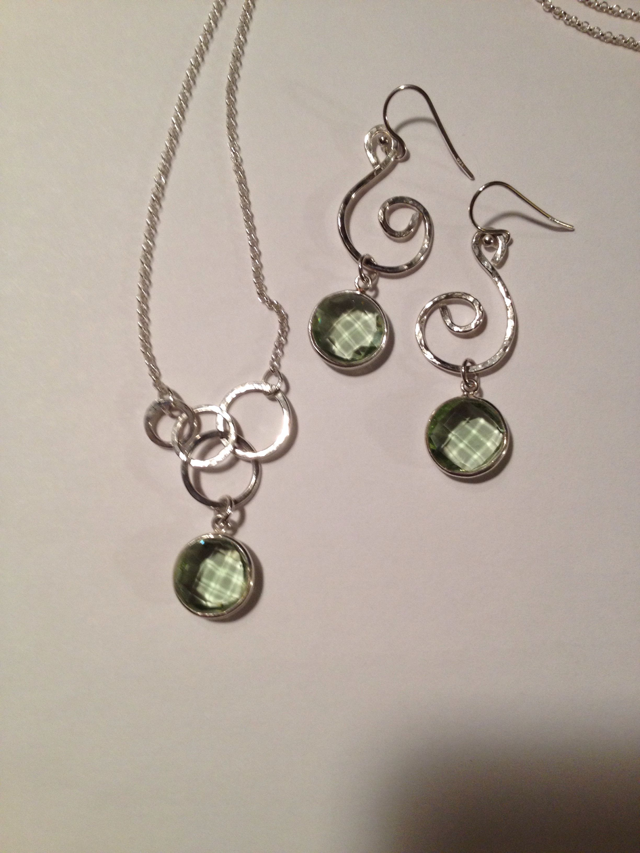 Green Amethyst and hammered sterling for sale now at Northwood Gallery in Midland, Michigan!